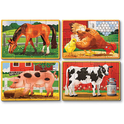 4 Wooden Puzzles - Farm Animals