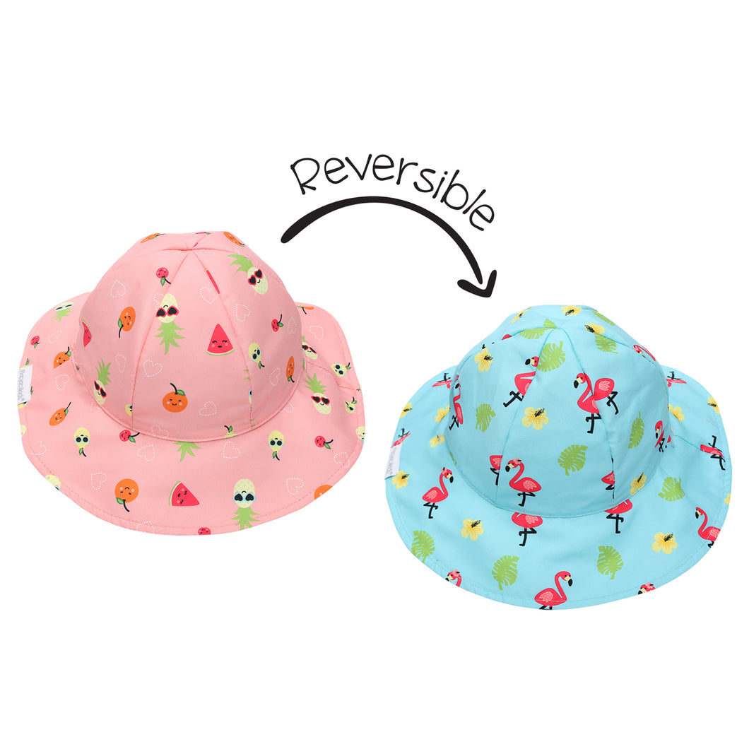 Flapjack/Reversible Sun Hat Flamingo/Fruit - XS