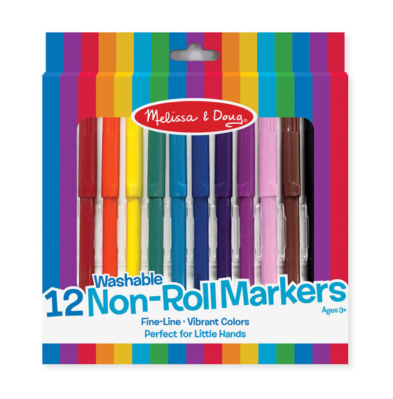 12 Washable Non-Roll Markers