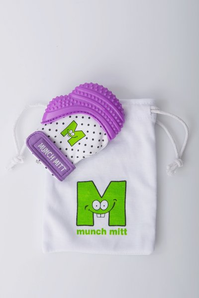Munch Mitt - Purple Polka Dot