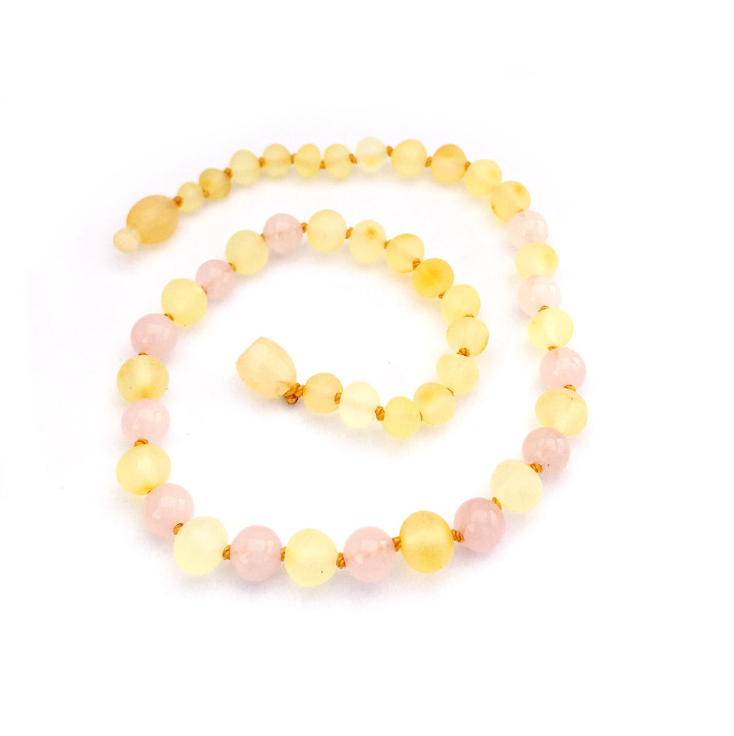 Baltic Amber Necklace - Raw Lemon/Rose Quartz - S