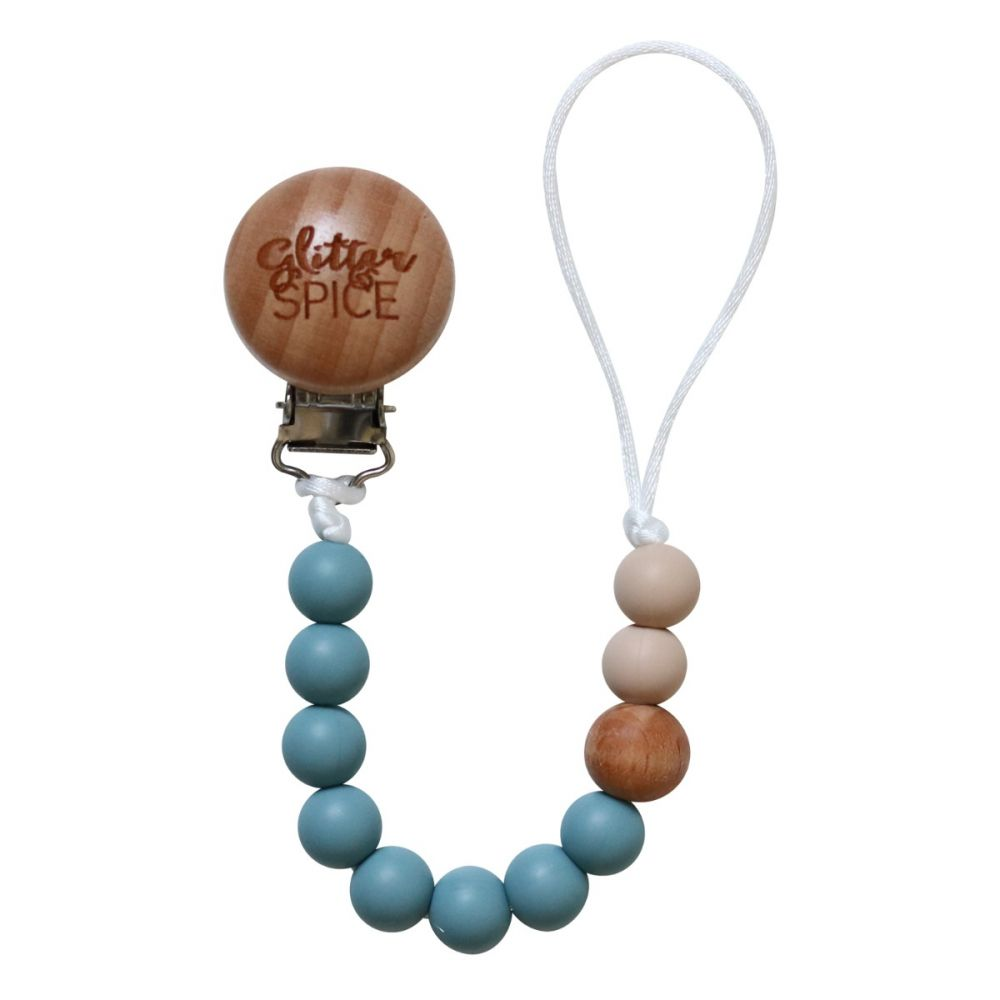 Silicone Pacifier Clip - Steel Blue
