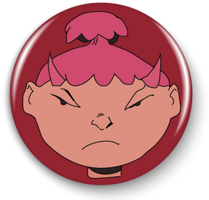 Aiko #0, Mad Emoji Girl, 1in. Button