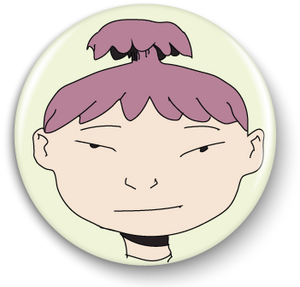 Aiko #0, Emoji Girl, 1in. Button