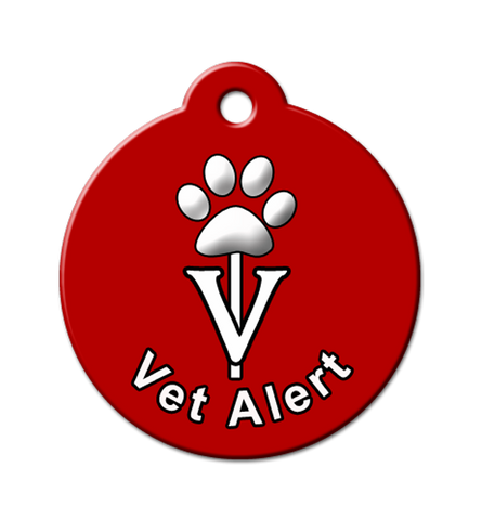 vet alert, injured dog, sick pet, pet id tags, qr code pet id, medical alert