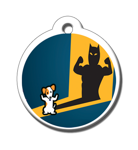 A take off on Batman our Alter Ego Strong Dog Pet ID Tag shows a pet protector shadow. pet id tag