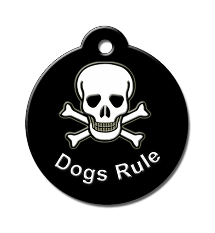 Dogs Rule, QR code pet id tag, skull and cross bones