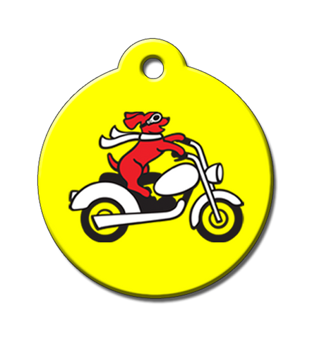 Our Harley Dog riding a motorcycle on a bright yellow tag