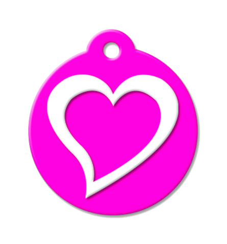 Pet ID Tag with a heart, neon pink pet id, open heart