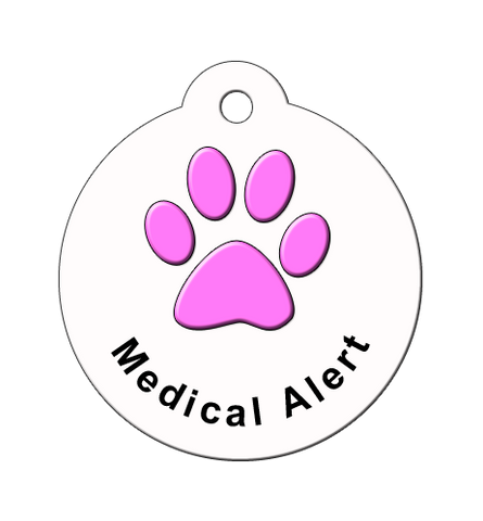 pink for pets, medical alert tags for pets, id tags for sick pets, pet alert tag