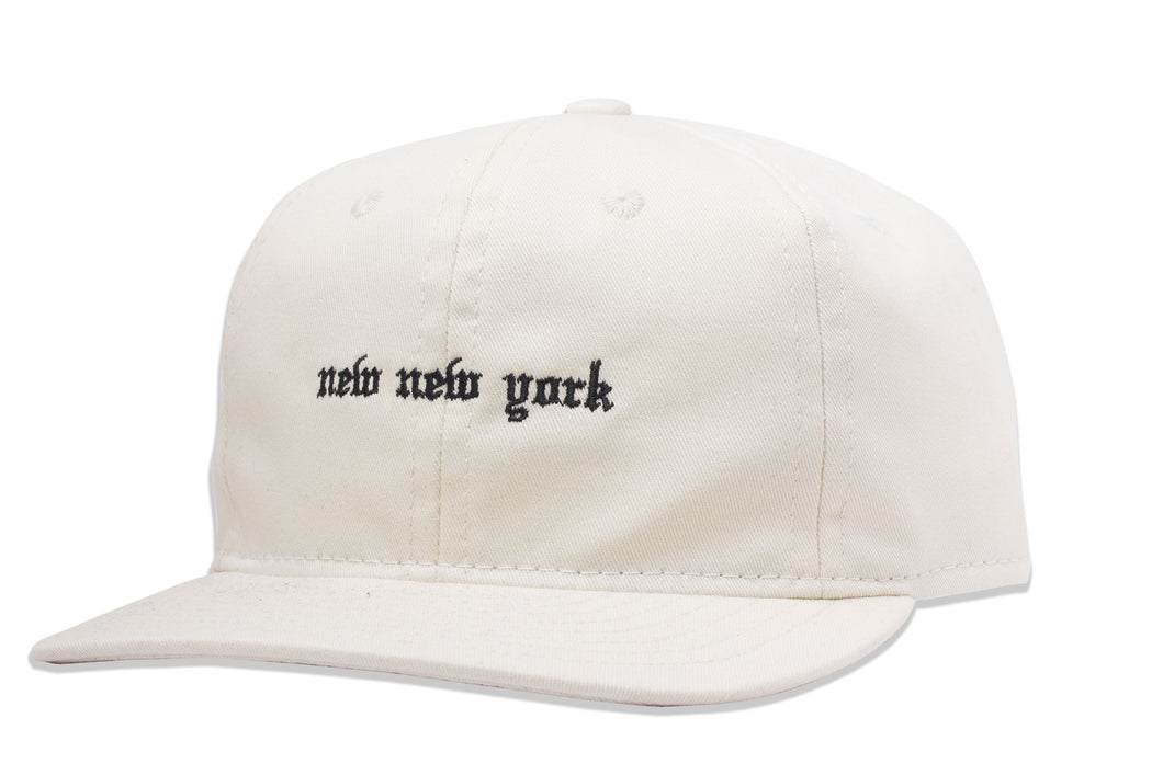 New New York Unstructured 6 Panel hat Cream