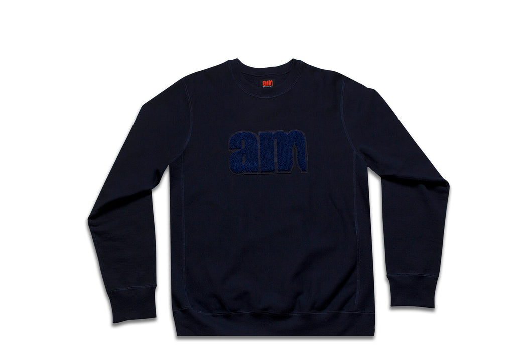 AM LOGO CHENILLE PATCH CREWNECK NAVY