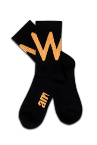 WAVE SOCKS BLACK/ PEACH