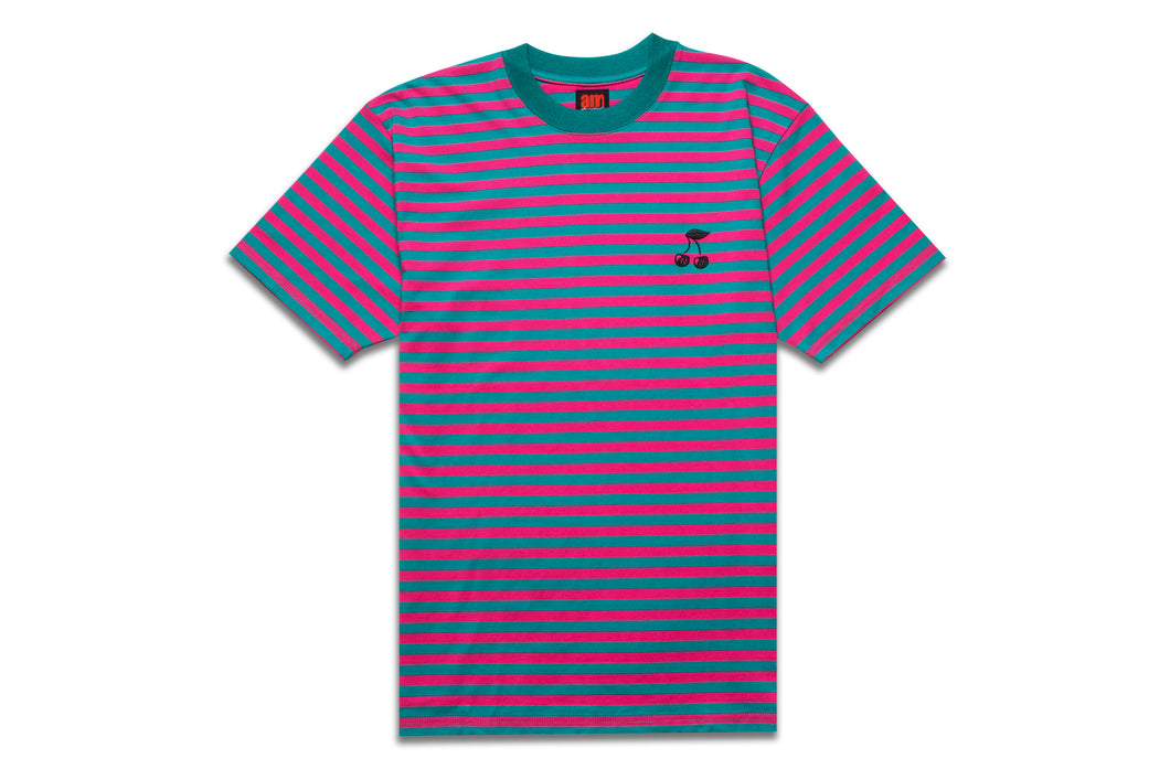 CHERRY STRIPED TEE PINK/GREEN