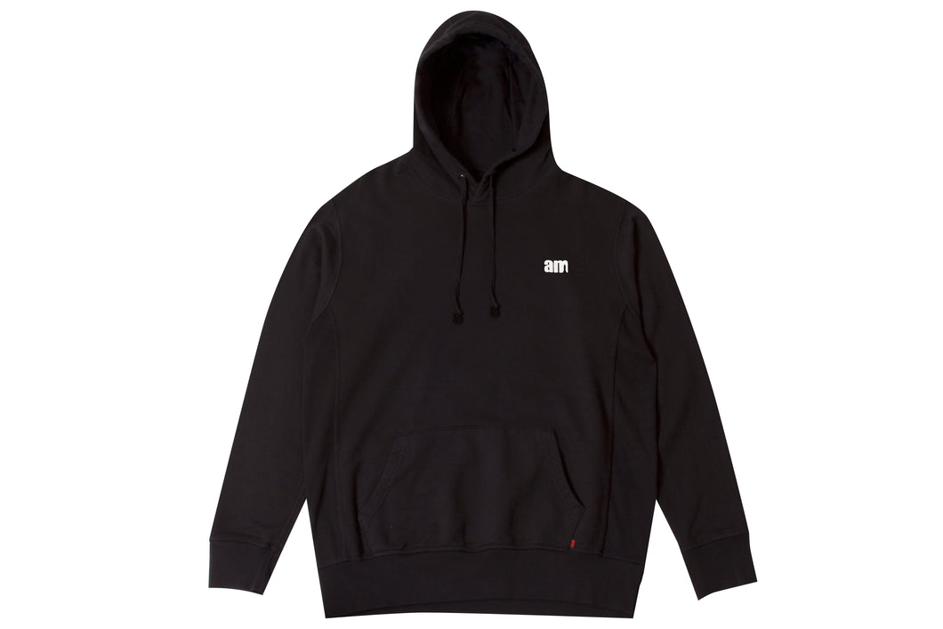 AM LOGO FLOCK PULLOVER BLACK