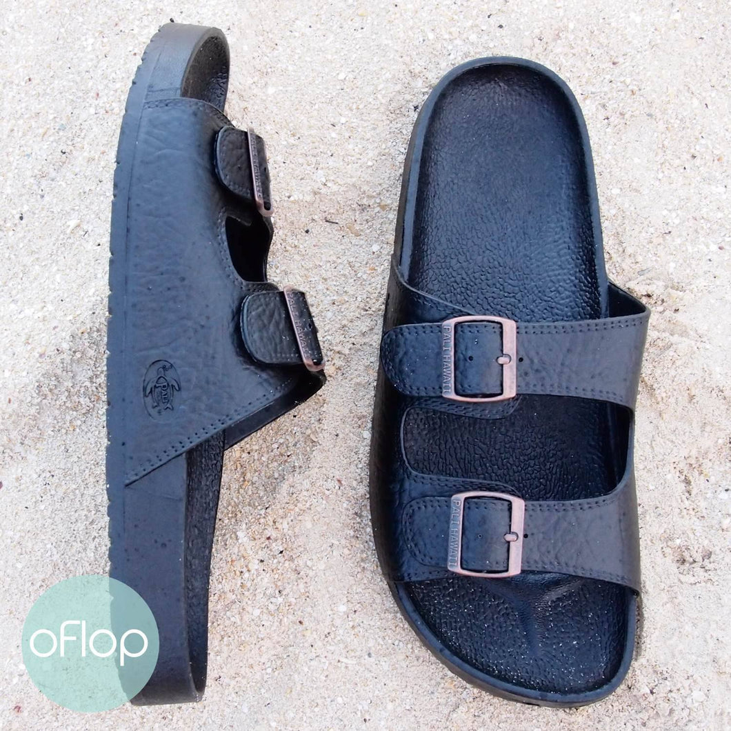 Sandals - Black Buckle Jandals - Pali Hawaii Hawaiian Jesus Sandals