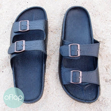 Load image into Gallery viewer, Sandals - Black Buckle Jandals - Pali Hawaii Hawaiian Jesus Sandals