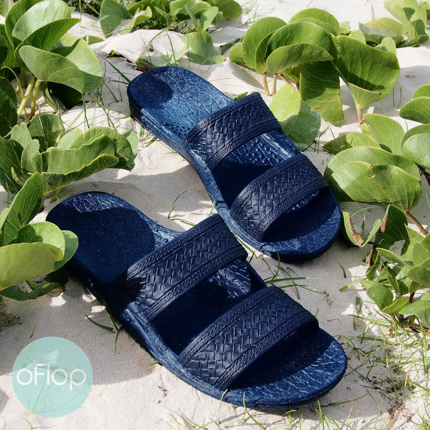 Sandals - Navy Blue Jandals -- Pali Hawaii Hawaiian Jesus Sandals