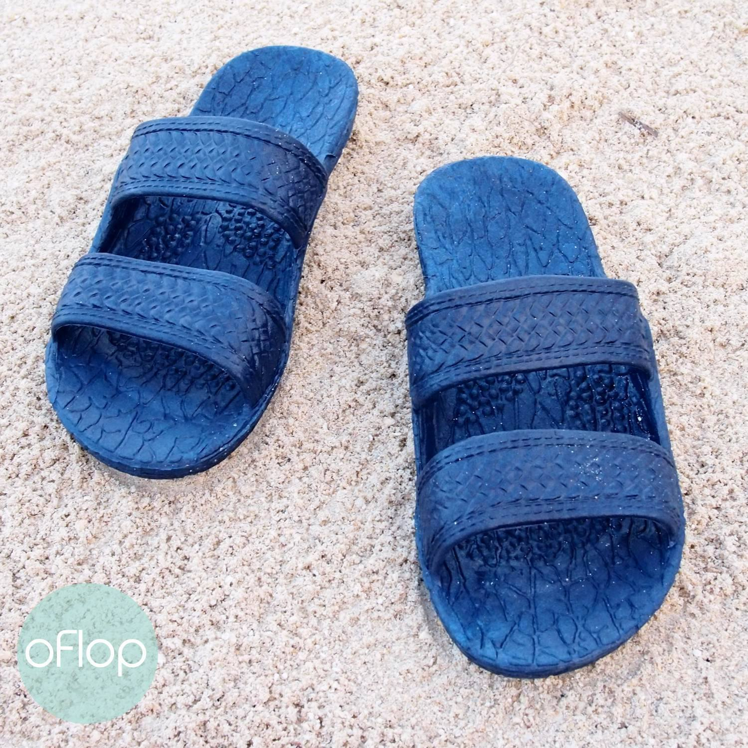 Sandals - Navy Blue Kids Jandals -- Pali Hawaii Hawaiian Jesus Sandals