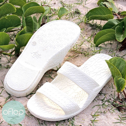Sandals - White Jandals -- Pali Hawaii Hawaiian Jesus Sandals