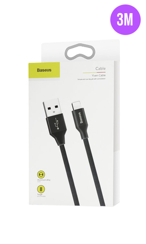 Extra Long Tough iPhone Charger Cable 3M Black - customxcreations