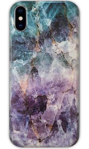 JUSTmarble Purple & Green Quartz Design iPhone XR Case-customxcreations