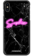 Load image into Gallery viewer, Personalised Black Marble Pink Neon iPhone Case-customxcreations