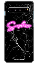 Load image into Gallery viewer, Personalised Black Marble Pink Neon Samsung Case