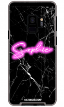 Load image into Gallery viewer, Personalised Black Marble Pink Neon Samsung Case-customxcreations