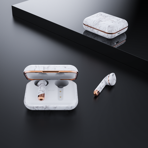 Happy Plugs Air 1 True Wireless Earphones Limited Edition- White Marble