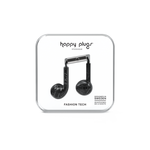 Happy Plugs Earbud Plus - Black Marble - customxcreations