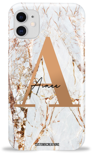 Personalised White Gold Cracked Marble Letter iPhone Case-customxcreations