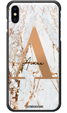 Load image into Gallery viewer, Personalised White Gold Cracked Marble Letter iPhone Case-customxcreations