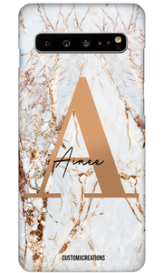 Personalised White Gold Cracked Marble Letter Samsung Case-customxcreations