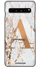 Load image into Gallery viewer, Personalised White Gold Cracked Marble Letter Samsung Case-customxcreations