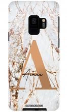 Load image into Gallery viewer, Personalised White Gold Cracked Marble Letter Samsung Case