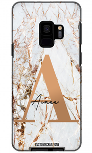 Personalised White Gold Cracked Marble Letter Samsung Case