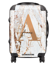 Load image into Gallery viewer, Personalised White Gold Cracked Marble Letter Suitcase-customxcreations