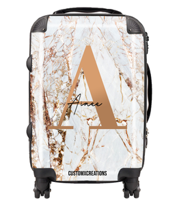 Personalised White Gold Cracked Marble Letter Suitcase-customxcreations