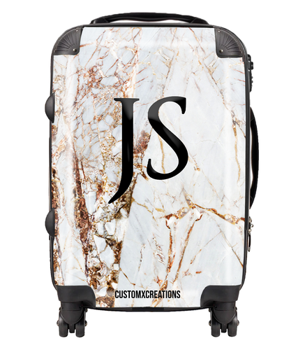 Personalised Premium Gold Cracked Marble Suitcase-customxcreations