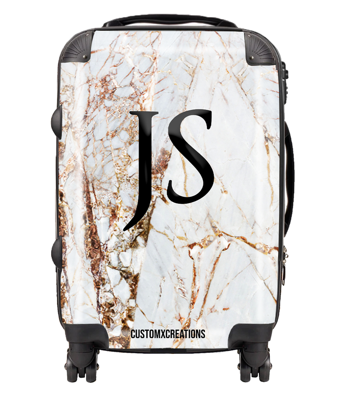 Personalised Premium Gold Cracked Marble Suitcase