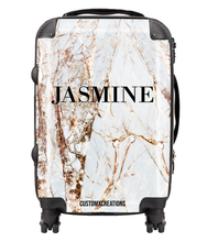 Load image into Gallery viewer, Personalised Premium Gold Cracked Marble Suitcase