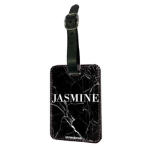 Load image into Gallery viewer, Personalised Black Premium Cracked Marble Luggage Tag-customxcreations