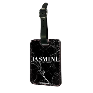 Personalised Black Premium Cracked Marble Luggage Tag-customxcreations