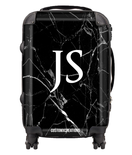 Personalised Premium Black Marble Suitcase-customxcreations