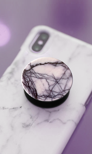 White & Black Marble Pop Socket - customxcreations