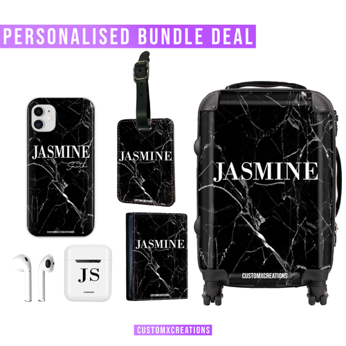 Ultimate Travel Bundle | Personalised Black Cracked Marble-customxcreations