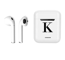 Load image into Gallery viewer, Personalised Initial Wireless Smart Earbuds | White & Black-customxcreations