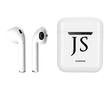 Load image into Gallery viewer, Personalised Initials Wireless Smart Earbuds | White & Black
