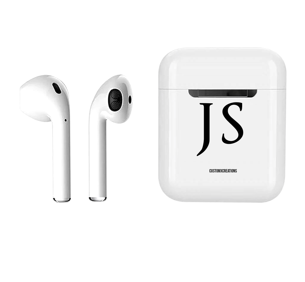 Personalised Initials Wireless Smart Earbuds | White & Black
